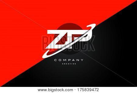 Zp Z P  Red Black Technology Alphabet Company Letter Logo Icon