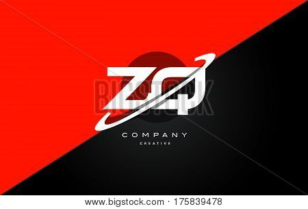 Zq Z Q  Red Black Technology Alphabet Company Letter Logo Icon