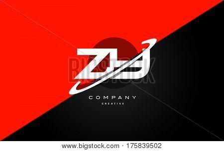 Zy Z Y  Red Black Technology Alphabet Company Letter Logo Icon