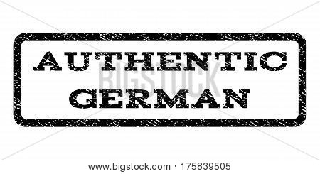 Authentic German watermark stamp. Text caption inside rounded rectangle frame with grunge design style. Rubber seal stamp with unclean texture. Vector black ink imprint on a white background.