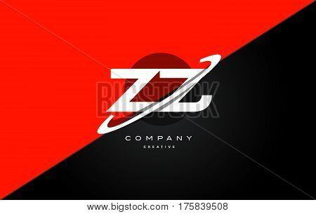 Zz Z  Red Black Technology Alphabet Company Letter Logo Icon