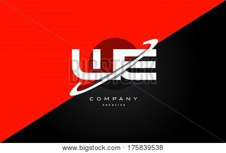 We W E  Red Black Technology Alphabet Company Letter Logo Icon
