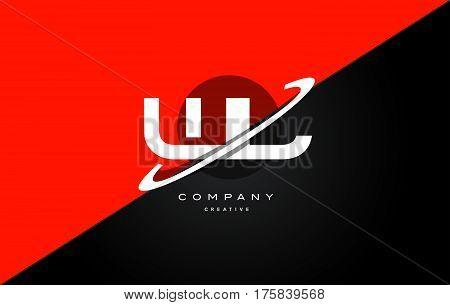 Wl W L  Red Black Technology Alphabet Company Letter Logo Icon