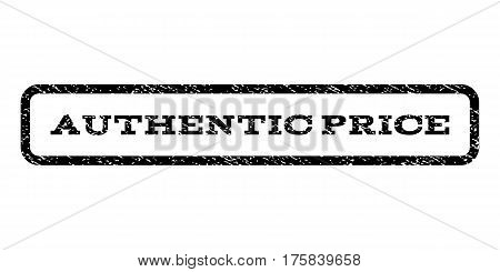 Authentic Price watermark stamp. Text tag inside rounded rectangle with grunge design style. Rubber seal stamp with dirty texture. Vector black ink imprint on a white background.