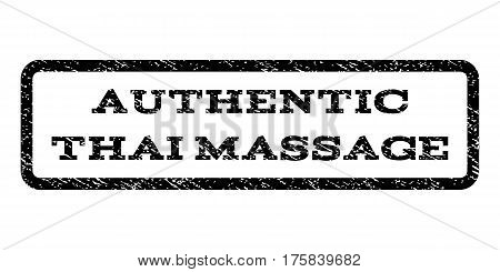 Authentic Thai Massage watermark stamp. Text tag inside rounded rectangle frame with grunge design style. Rubber seal stamp with scratched texture. Vector black ink imprint on a white background.