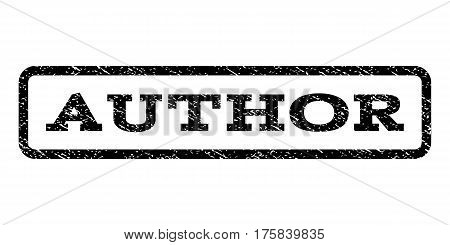 Author watermark stamp. Text tag inside rounded rectangle with grunge design style. Rubber seal stamp with scratched texture. Vector black ink imprint on a white background.