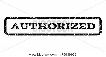 Authorized watermark stamp. Text caption inside rounded rectangle frame with grunge design style. Rubber seal stamp with scratched texture. Vector black ink imprint on a white background.