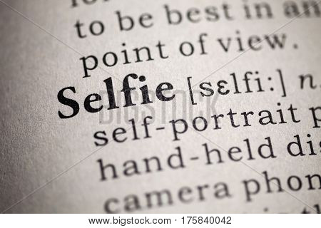 Fake Dictionary Dictionary definition of the word selfie.