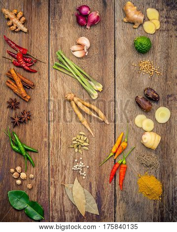Various Of Indian Spices And Herbs. Cooking Ingredients And Red Curry Paste . Ingredients Of Thai Po