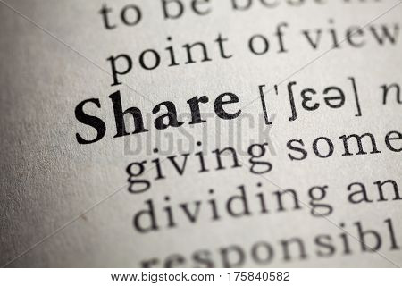 Fake Dictionary Dictionary definition of the word share.