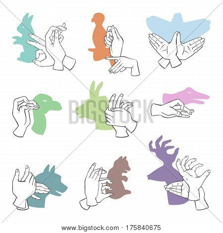 Hands gesture like different animals imagination theatrical symbol and people finger figures puppet copy leisure action shadow silhouette vector illustration. Inspiration playing toy body idea.