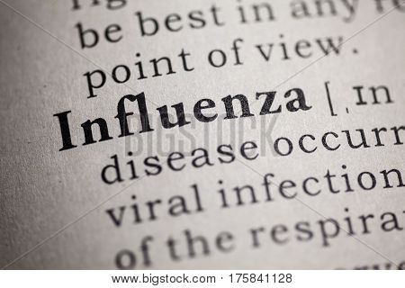 Fake Dictionary Dictionary definition of the word influenza.