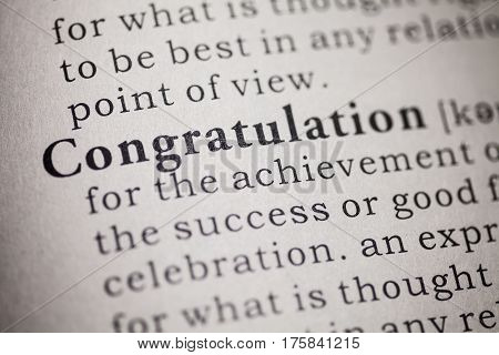 Fake Dictionary Dictionary definition of the word congratulation.