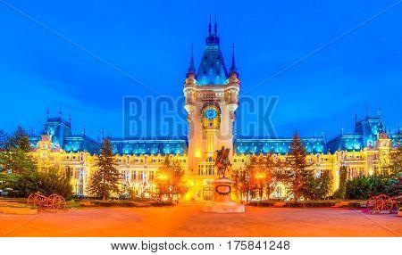 Beautiful iasi city at blue time, Moldavia, Romania.