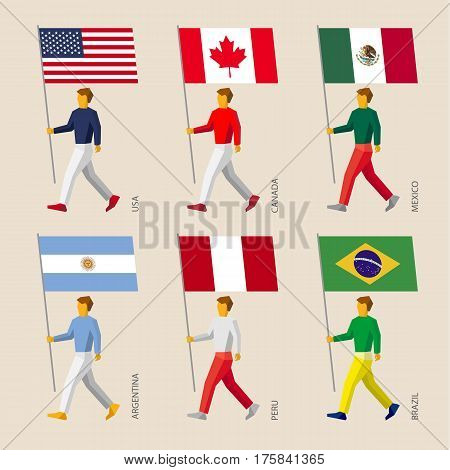 Set Of Simple Flat People With Flags Of American Countries