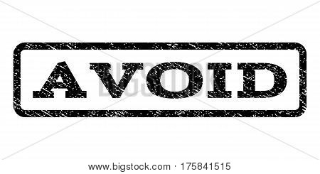Avoid watermark stamp. Text tag inside rounded rectangle frame with grunge design style. Rubber seal stamp with dust texture. Vector black ink imprint on a white background.