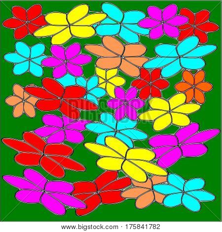 Abstract green background of large colored pink and blue and red and yellow flowers with a black stroke superimposed throughout the drawing