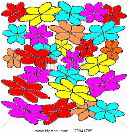 Abstract white background large colored pink and blue and red and yellow flowers with a black stroke superimposed throughout the drawing