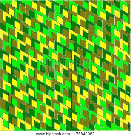 Abstract background of large colored green light and dark, yellow and olive corners and rhombuses inside a pattern superimposed throughout the drawing