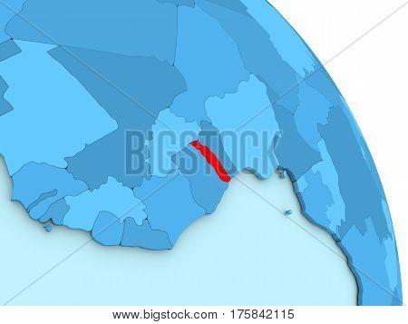 Togo On Blue Political Globe