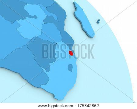 Swaziland On Blue Political Globe