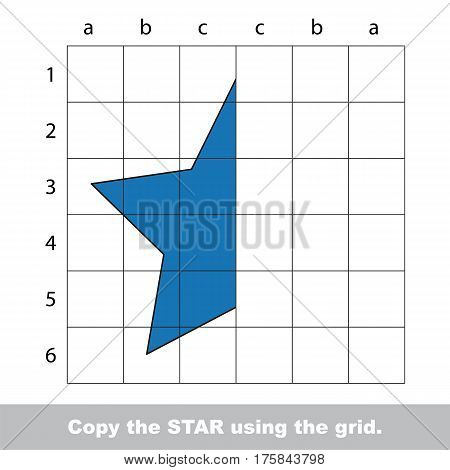 Finish the simmetry picture using grid sells, vector kid educational game for preschool kids, the drawing tutorial with easy game level for half of Star
