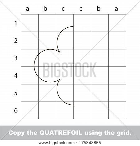 Finish the simmetry picture using grid sells, vector kid educational game for preschool kids, the drawing tutorial with easy game level for half of Quatrefoil.