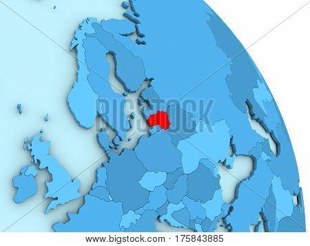 Lithuania On Blue Political Globe
