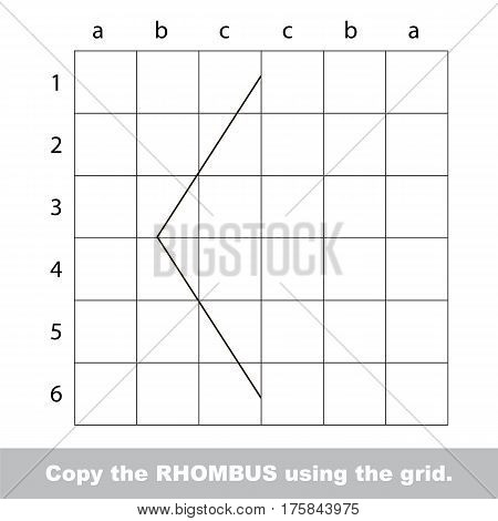 Finish the simmetry picture using grid sells, vector kid educational game for preschool kids, the drawing tutorial with easy game level for half of Diamond