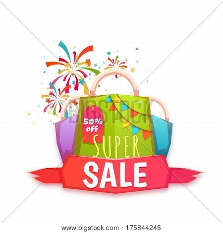 Big sale banner with color packet and confetti. Vector illustration.