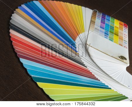 The color palette as a background.Pantone, cmyk, ral color swatches