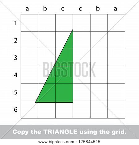 Finish the simmetry picture using grid sells, vector kid educational game for preschool kids, the drawing tutorial with easy game level for half of Triangle