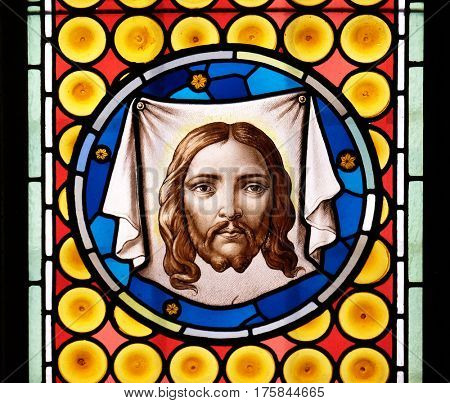 ROME, ITALY - SEPTEMBER 03: Veil of Veronica stained glass window in Basilica of Saint Sylvester the First (San Silvestro in Capite) in Rome, Italy on September 03, 2016.