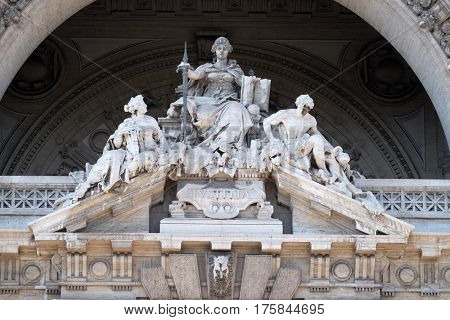 ROME, ITALY - SEPTEMBER 02: Lady Justice Statue on Palace of Justice(Palazzo di Giustizia), seat of the Supreme Court of Cassation, Rome, Italy on September 02, 2016.