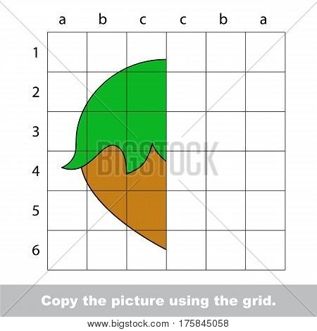 Finish the simmetry picture using grid sells, vector kid educational game for preschool kids, the drawing tutorial with easy game level for half of Hazelnut
