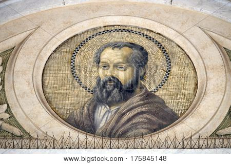 ROME, ITALY - SEPTEMBER 05: Saint Philip the Apostle, mosaic in the basilica of Saint Paul Outside the Walls, Rome, Italy on September 05, 2016.