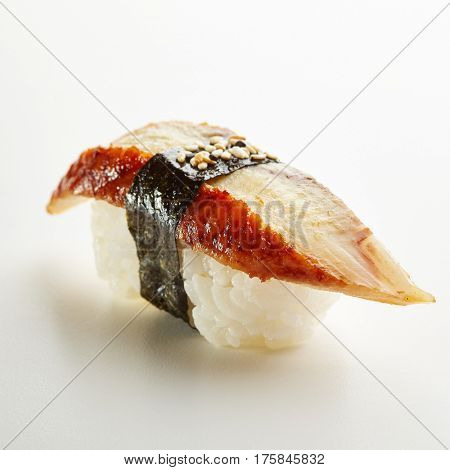 Japanese Sushi - Unagi Nigiri Sushi (Eel Sushi) on White Background