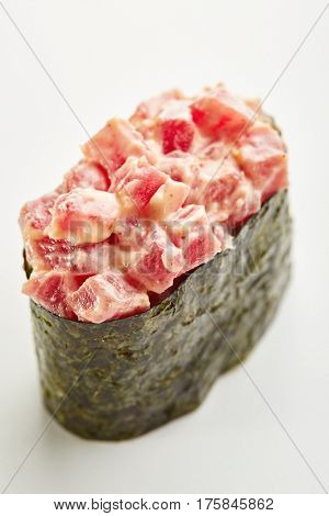 Japanese Sushi - Maguro Seaweed Gunkan Sushi (Nori wrapped Tuna Sushi) on White Background