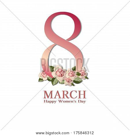8 March greeting card template. International Womens day background or brochure on white with rouse. Vector