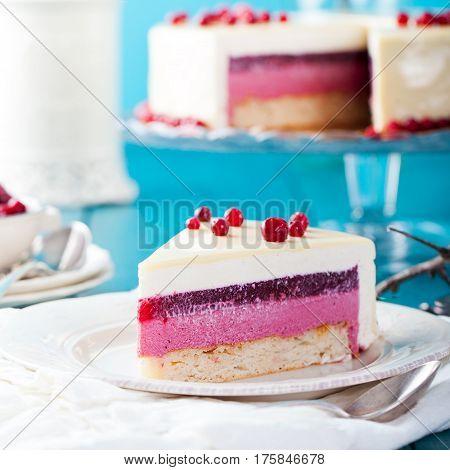 Cranberry, Bilberry, Raspberry Tart, Mousse Cake.