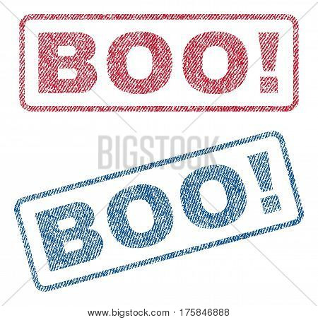 Boo exclamation text textile seal stamp watermarks. Blue, red fabric vectorized texture. Vector tag inside rounded rectangular banner. Rubber sign with fiber textile structure.