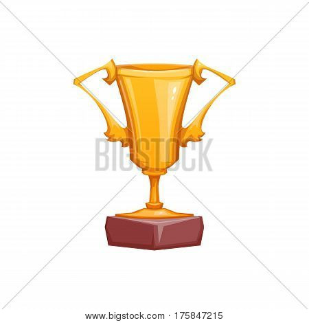 Gold goblet isolated on white background. Vector illustration.