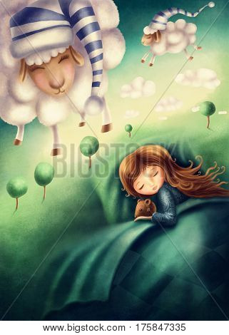 Illustration of a little girl and ?ounting sheep