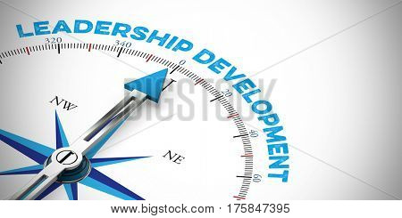 Leadership Development concept with arrow of compass (3D Rendering)