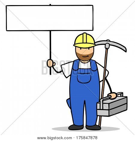 Cartoon blue collar worker with tools holding blank sign