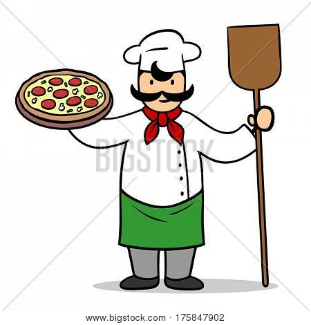 Cartoon pizza baker with salami pizza in his hands