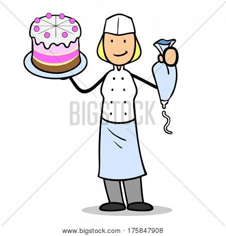 Cartoon woman as confectioner with cake and pastry bag in her hands