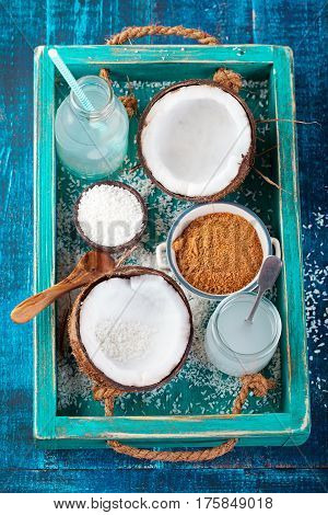 Coconut With Coconut Oil, Water And Sugar Top View