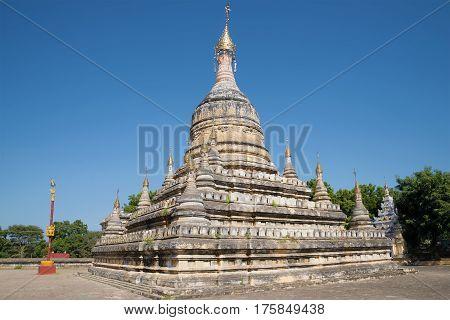 Ancient stupa of the Buddhist temple Hsu Taung Pyi closeup. Bagan, Myanmar