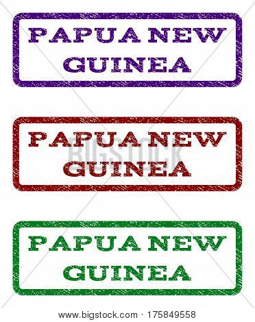 Papua New Guinea watermark stamp. Text tag inside rounded rectangle with grunge design style. Vector variants are indigo blue, red, green ink colors. Rubber seal stamp with scratched texture.